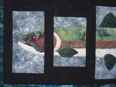 This Trout pattern was created by Lunch Box Quilts.  I modified it and made it into a fusible applique pattern.  I love the batiks in this art quilt