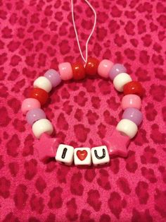 CUSTOM I Heart bead kandi bracelet on Etsy, $3.00