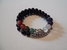 2 Gemstone Onyx Gemstone Stretch Bracelets/Chakra by HealingAuras, $15.00