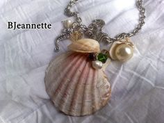 Natural seashell from the deep sea with pearls, crystals and silver wire. Pendants Dragonfly and anchor made of Tibetan silver antiallergic chain  SIZE: 45cm chain + 7cm Pendant
