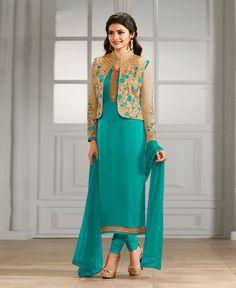 Prachi Desai Aqua Georgette Churidar Suit 78475