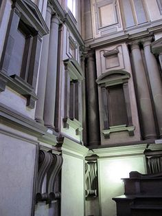 "The Laurentian Library by Michelangelo. Breaking the rules for ""proper"" use of Classical architectural elements, he places elements as he sees fit for an artistic composition."