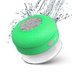 JEMMA Waterproof Bluetooth Speaker Wireless Shower Portable Hand-Free Call with Mic(Green)