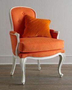 tangerine pompadour chair | horchow