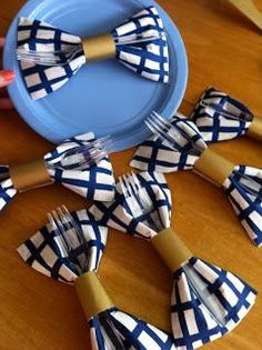 "Bow-tie napkins for a little boy baby shower. Lots of other cute ideas for a ""Little Mister"" baby shower!Taylor: I just love this color for a boy shower. I got a thing of blue plaid wrapping paper for my son"