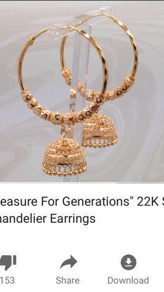 Gold Jhumka Earrings, Gold Bridal Earrings, Jewelry Design Earrings, Gold Earrings Designs, Gold Jewellery Design, Bridal Jewellery, Real Gold Jewelry, Gold Jewelry Simple, Indian Wedding Jewelry
