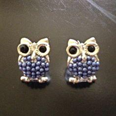 $10 Jewelry Special -  Beaded Owl Earrings (Blue) - $10