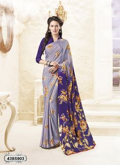 Buy Impressive Grey and Violet Colored Crepe Casual Saree Get 30% Off on Designer Sarees From Leemboodi Fashion with Free Shipping in INDIA Use Coupon Code: RAKHI15 to Get 15% off on Every Product of Leemboodi Fashion Now Available on Cash On Delivery