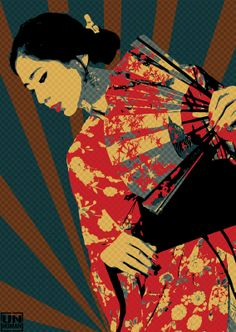 "Unhuman ""Geisha"" New Prints Available Now StreetArtNews Japanese Pop Art, Japanese Geisha, Japanese Style, Geisha Art, Geisha Makeup, Dragon Silhouette, Rock Posters, Art For Art Sake, Poster Prints"