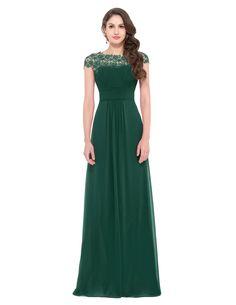 GRACE KARIN® Womens Cap Sleeve Chiffon Ball Gown Evening Prom Dress | Amazon.com