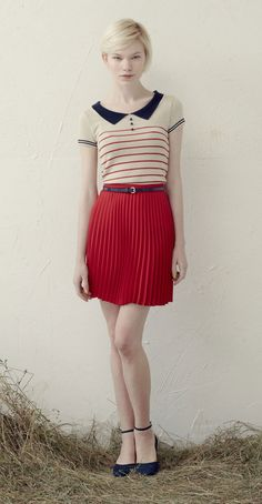 ALEXA Ivory/Red: Short-sleeved polo shirt with stripes.  LEONIE Red: Pleated skirt with thin waistband.  Betina Lou Spring-Summer 2013