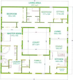 center courtyard house plans with 2831 square feet this is one of my bigger houses - Square House Plans