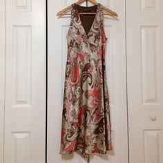 Beautiful Floral Cocktail Dress 100% silk, side zipper, mid calf length, sexy V-neck. Worn once only. INC International Concepts Dresses Midi