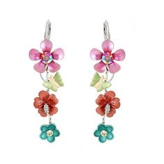 Amazon.com: Glamorousky Colorful Flower and Tiny Butterfly Necklace with Multi-color Swarovski Element Crystals (986): Jewelry