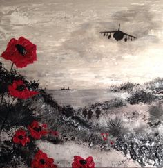 "By Jacqueline Hurley ""Calm Before The Storm"" War Poppy Collection No.7 Port Out, Starboard Home POSH Original Art LEST WE FORGET"