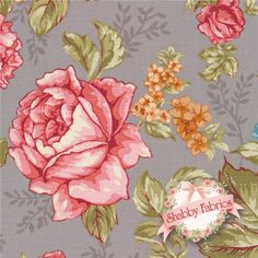 "Rendezvous 22864-K Gray Vintage Floral By Kensington Studio For Quilting Treasures: Rendezvous is a collection by Kensington Studio for Quilting Treasures.  100% cotton.  43/44"" wide.  This fabric features large pink and tan roses tossed on a gray background."