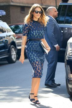 The sheer dress trend is one of our favorite looks for summer. Get inspired by Jessica Alba's blue, belted dress for a stylish day-to-night outfit.