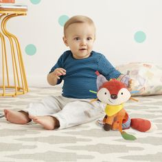Skip Hop Bandana Buddies - Fox-Little hands stay active with this colorful character as baby explores patterns, textures and sounds. Ideal for fun at home or on-the go, this cute companion rattles, crinkles and has a soft bandana teether for multi-se Lion, Kid Essentials, Interactive Toys, Activity Toys, Teething Toys, Babies R Us, Sensory Toys, Baby Registry, Gift Registry
