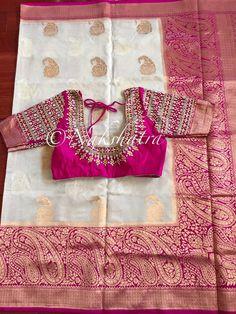 Nakshatra Design Studio By Sushmita. Silk Kurti Designs, Wedding Saree Blouse Designs, Pattu Saree Blouse Designs, Kids Blouse Designs, Maggam Work Designs, Designer Blouse Patterns, Work Blouse, Maggam Works, Saree Dress
