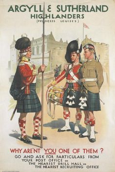 Recruitment Poster for the Argyll and Sutherland Highlanders, 1914.