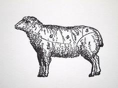 Letterpress Art Print L'agneau Lamb Meat Cuts by missive Lamb Drawing, Sheep Illustration, Sheep Tattoo, Scratchboard, Letterpress, Nursery Art, Moose Art, Art Prints, Wall Art