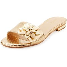 Michael Michael Kors Heidi Floral Flat Slide Sandal ($72) ❤ liked on Polyvore featuring shoes, sandals, pale gold, t-strap flats, leather strap sandals, strappy flats, leather sandals and open toe sandals
