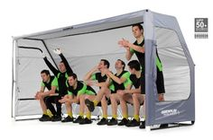 The sideline with never be the same again! Introducing the QuickPlay Portable Dugout Sports Shelter with 8 Seat Bench.