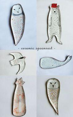 Clay Opera Ceramics Owl rest spoon