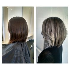 From long (past her shoulders) to a Lob to Silver Ombre! Cut & Color by Glad