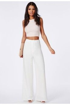 Premium Crepe Wide Leg Trousers White