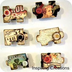 Vintage puzzle magnets