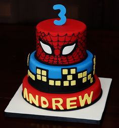Spider-Man for my little man - I made this cake for my son's (you guessed it!) 3rd birthday!  He loooooves Spider-man, and he was talking about his Spider-man birhtday cake for weeks leading up to the big day.  Design was based on res3boys' cake.