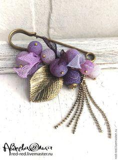 Купить Брошь булавка фиолетовая. - брошь с подвесками, недорогой подарок, недорогие украшения, булавка с камнями