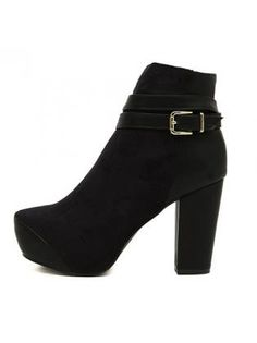 Stunning Buckled Black Ankle Boots with Chunky Heel