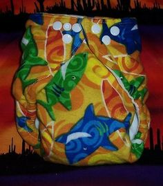 Custom Cloth DiaperSmiling Sharks by Los Chiquitos by loschiquitos, $9.25