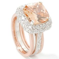 Sterling Silver / Platinum / 18K Rose Gold Champagne Brilliante Ring Set. STERLING SILVER / PLATINUM, 9 $ 84.75