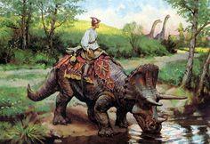 Cavaleiro Os Dinossauros e o Mundo Fantástico de James Gurney Prehistoric Creatures, Mythological Creatures, Fantasy Creatures, Prehistoric Wildlife, Jurassic World Dinosaurs, Jurassic Park World, Fantasy World, Fantasy Art, Arcane Trickster