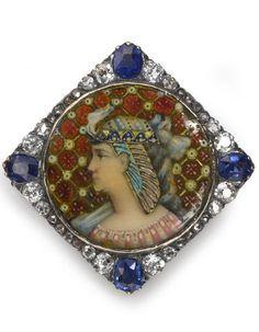 An antique plique-à-jour, enamel, sapphire and diamond pendant-brooch, circa 1880,  mounted in silver-topped fourteen karat gold.