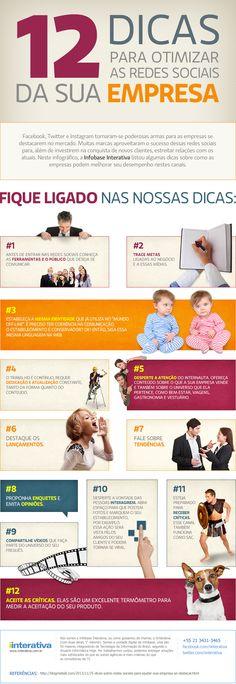Nesta semana, a IInterativa traz o Infográfico que dá 12 dicas para otimizar as redes sociais da sua empresa. Estas preciosas dicas, podem fazer a página da sua companhia crescer rapidamente, além de dar dicas sobre a interação com o publico alvo.