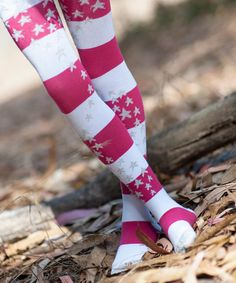 Red & Silver Organic Tights - Infant, Toddler & Girls by Luna Leggings #zulily #zulilyfinds