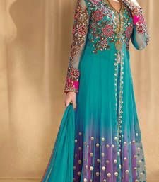 Buy Multicolor net embroidered semi stitched salwar with dupatta anarkali-salwar-kameez online