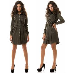 Stylish ladies dark green suede shirt dress #suede #shirt #dress