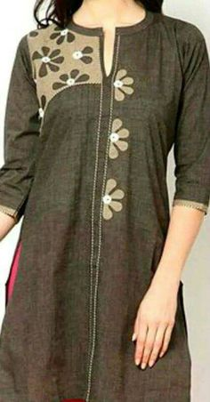 Hand applique Kurta Designs Women, Salwar Designs, Kurta Patterns, Dress Patterns, Kurtha Designs, Applique Dress, Hand Applique, Kurti Embroidery Design, Linens And Lace