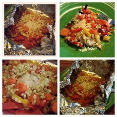 Chicken breast, fresh carrots, fresh red and yellow peppers, fresh corn with seasoned salt and onion powder wrapped up in aluminum foil and roasted on the grill! It was sooooo yummy! And healthy, and the best part is you can add whatever kind of meat or veggies or anything that you want! :)