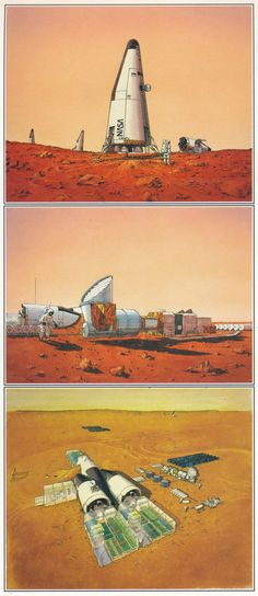 Paintings by Carter Emmart for 'The Case for Mars' JPL video 1986. From the book Visions of Space by David Hardy (1989)