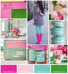 Pink, Green and Blue Tiffany - Summer 2012 Pink And Green, Blue, Mood Boards, Color Inspiration, Tiffany, Pastel, Ruffle Blouse, Party Ideas, Shades