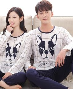 d5127722ed3 New Arrivals 2017 Lovers pajamas women long-sleeved spring thin pajama sets  men pure couple pajamas for men set sleepwear suit