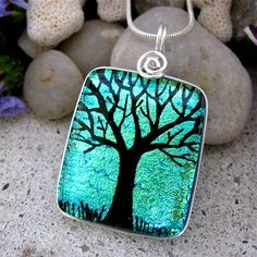 Green Tree of Life Fused Dichroic Glass Pendant by UniqueDichroic, $22.50