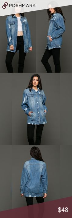 Drew Distressed Denim Jacket This jacket will step up your wardrobe! Chilly Summer nights or layered up for Fall. Add this jacket to any outfit. Slightly oversized with distressing throughout. 100% Cotton  Small: 0-4 Medium: 6-10 Large: 12-14 Jackets & Coats
