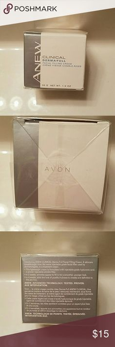 Avon Anew clinical Derma full Facial filling cream Avon Anew clinical Derma full Facial filling cream. Brand new and sealed in box! Experience a skin care break through: now the same injectible-grade facial filler used by dermatologists, in a treatment cream! Avon Other